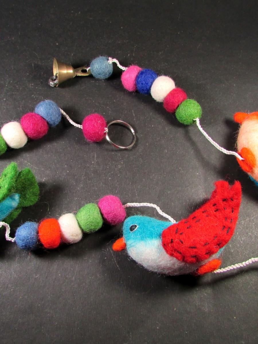 Felt pom pom Ball Bird bell key ring Christmas wall door hanging string - F146