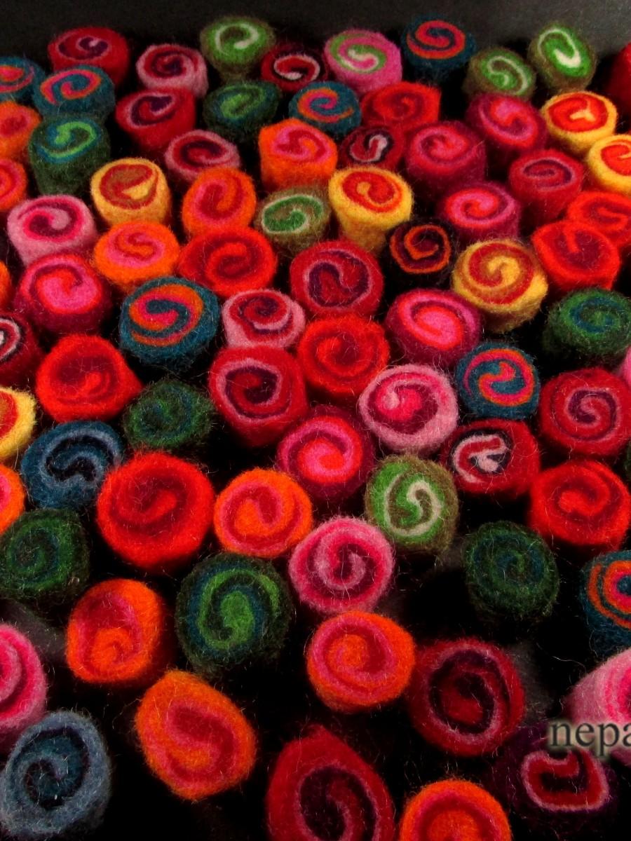Felt wool 2 cm Multi color spiral Nursery Craft garland Christmas - F117