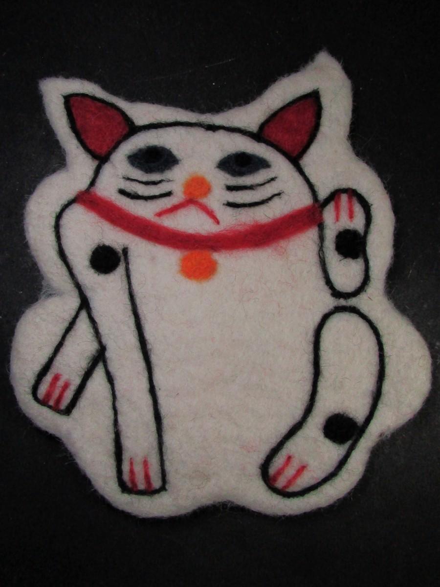 Felt wool Cat Table coaster pot pad bowl mat - F161