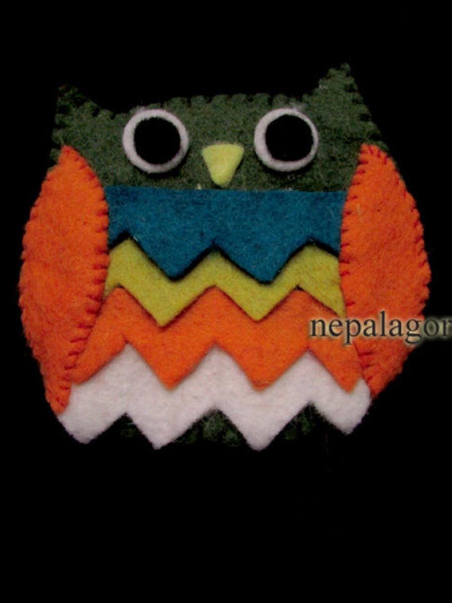 Felt Wool Owl Ladies Wallet Coin Purse - F8