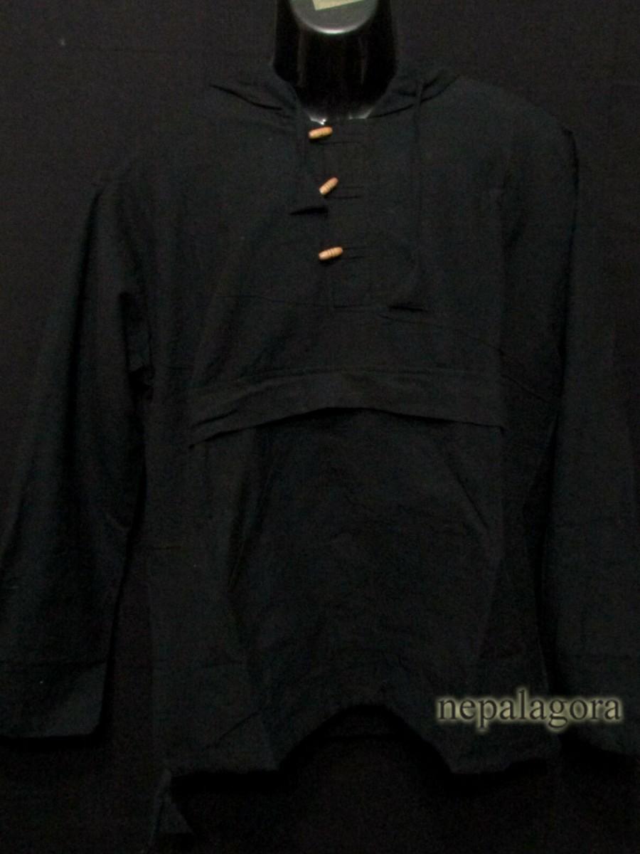 Handloom Cotton long sleeve Hoodie Shirt - Sh972 L