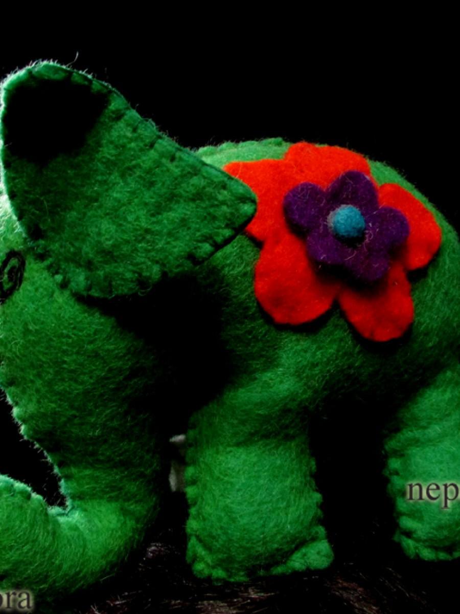 Handmade Felt wool Kid Toy Animal Elephant - F38