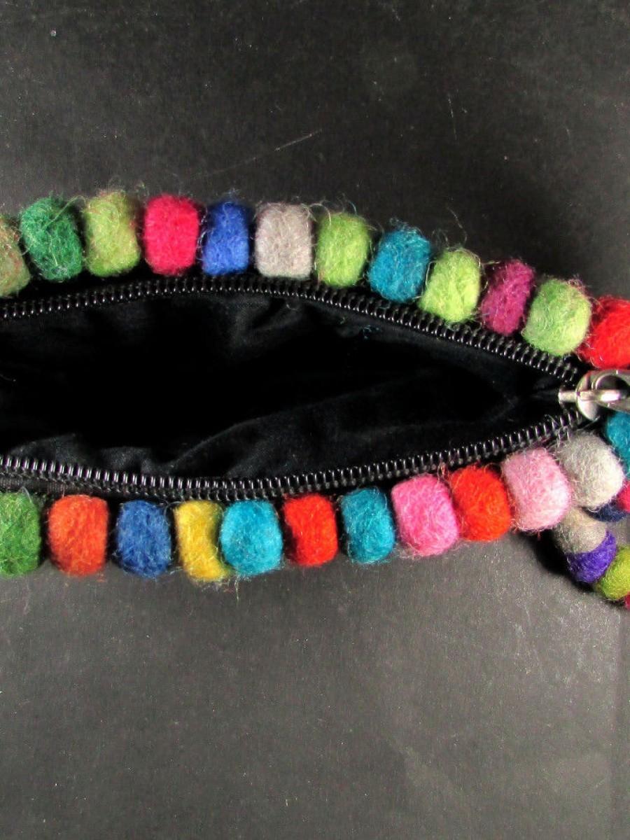 Handmade Multi Color Felt Hangbag Purse - F122