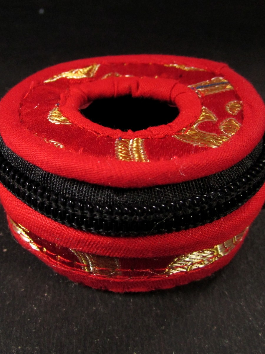 Handmade Tibetan brocade Tingsha box  - TN25
