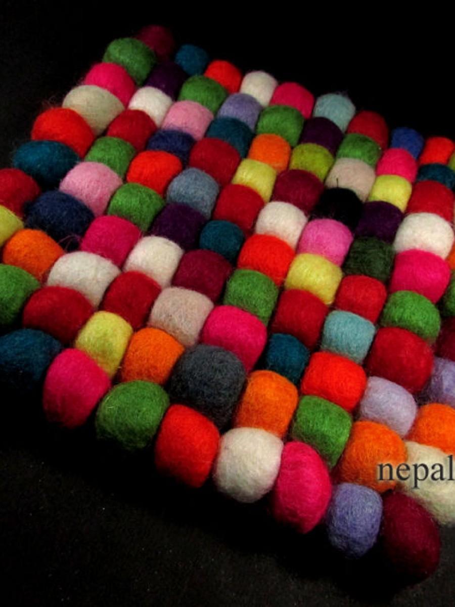 Handmade Wool Felt Ball mat coaster Multicolor - F65