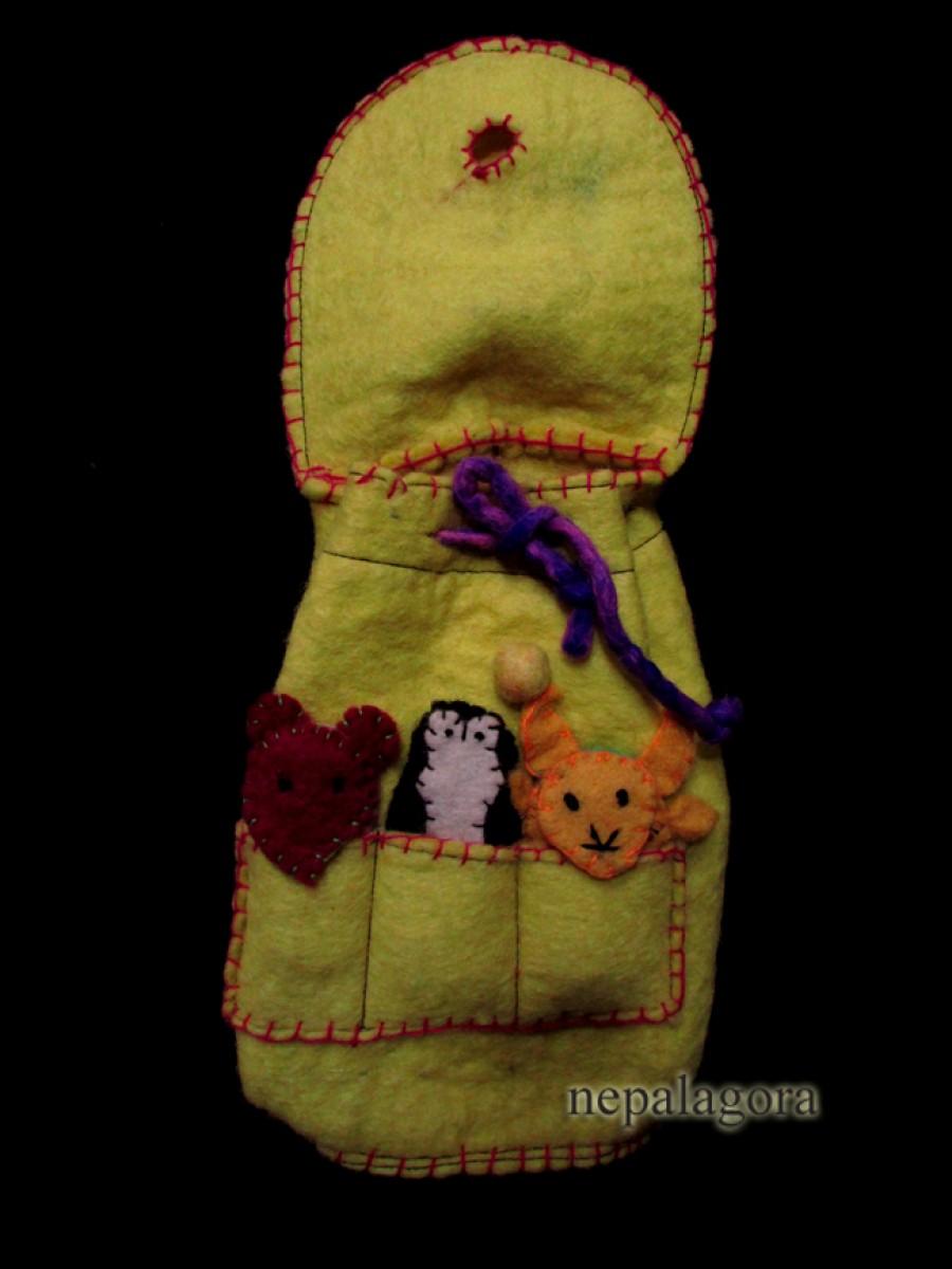 Kids Puppet Yellow Felt Backpack Bag Nepal - F33