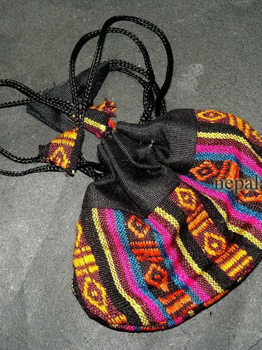 Tibetan Handloom Cotton Fabric Coin Purse - Pur305