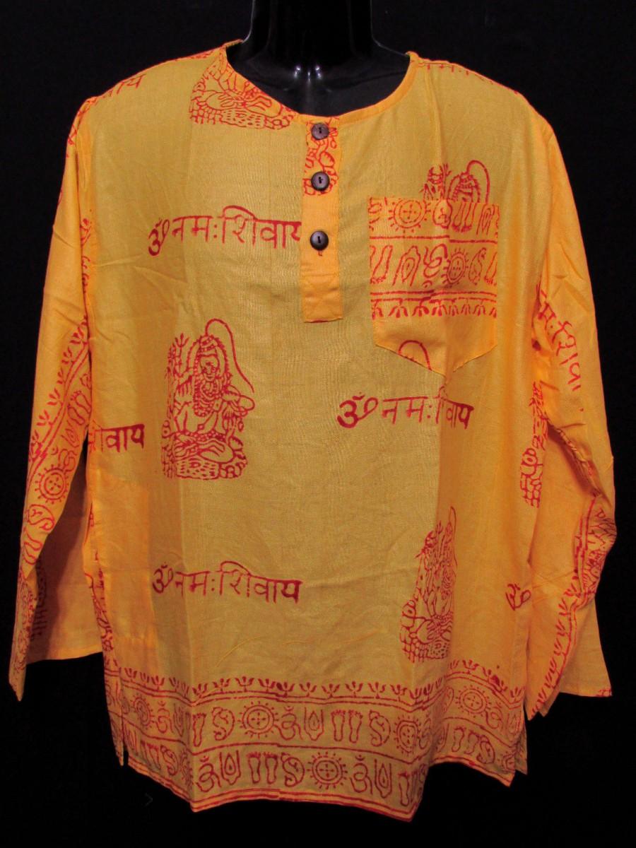 Sh1024 L Unisex long sleeve Hippie Yoga Block Printed Summer Shirt Kurta Nepal