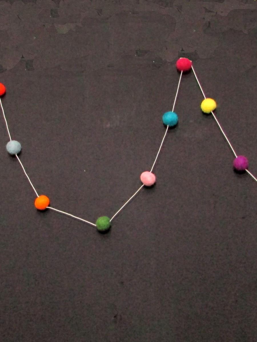 wool Felt Ball Christmas hanging Garland - F127