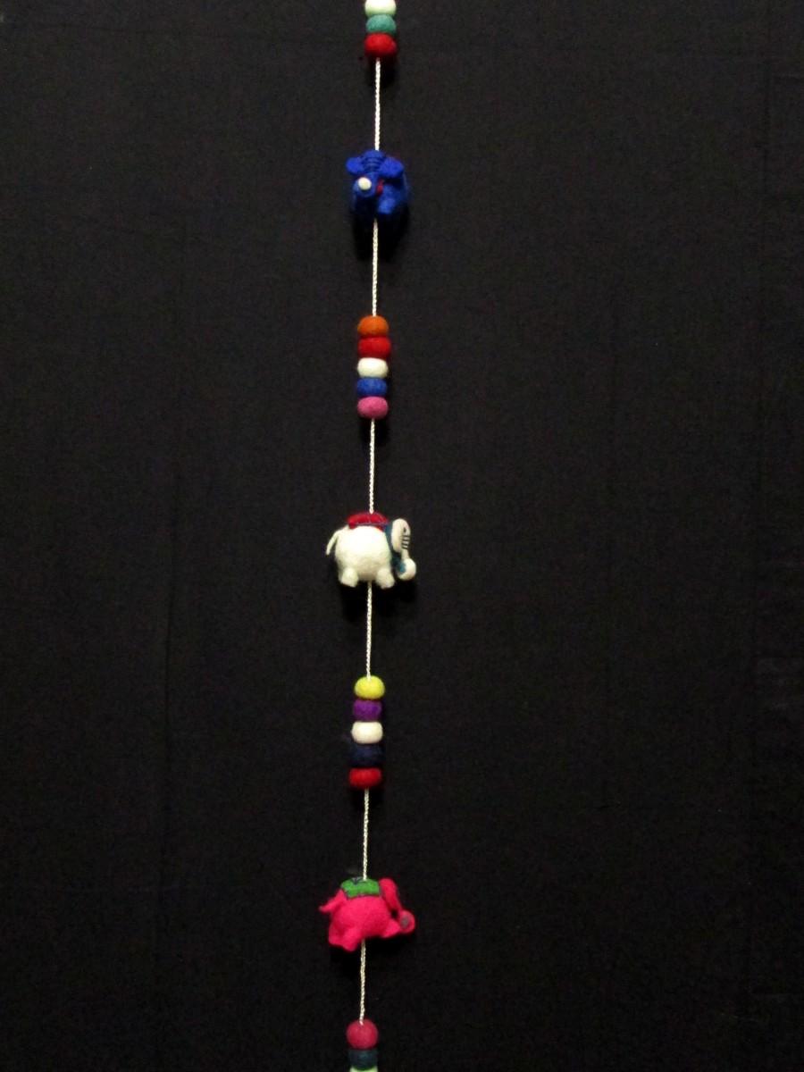 Wool felt pom pom Animal Door hanging - F154